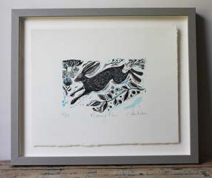 Limited edition, original linoprints, hand-printed and signed by Sam Wilson. Available framed in bespoke grey wood box frame. Running Hare 20cm x 20cm LINO 001 - £60.00